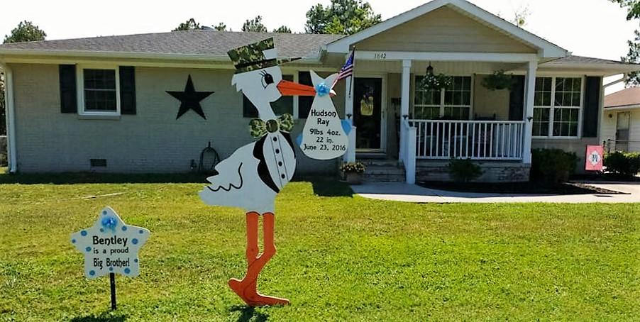 Fayetteville, NC Stork Lawn Sign ~ Sandhills Baby & Birthday Signs ~ Fort Bragg Army Stork Yard Cards