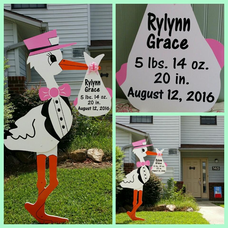 Fort Bragg, Fayetteville NC ~ Stork Lawn Sign ~ Sandhills Babies and