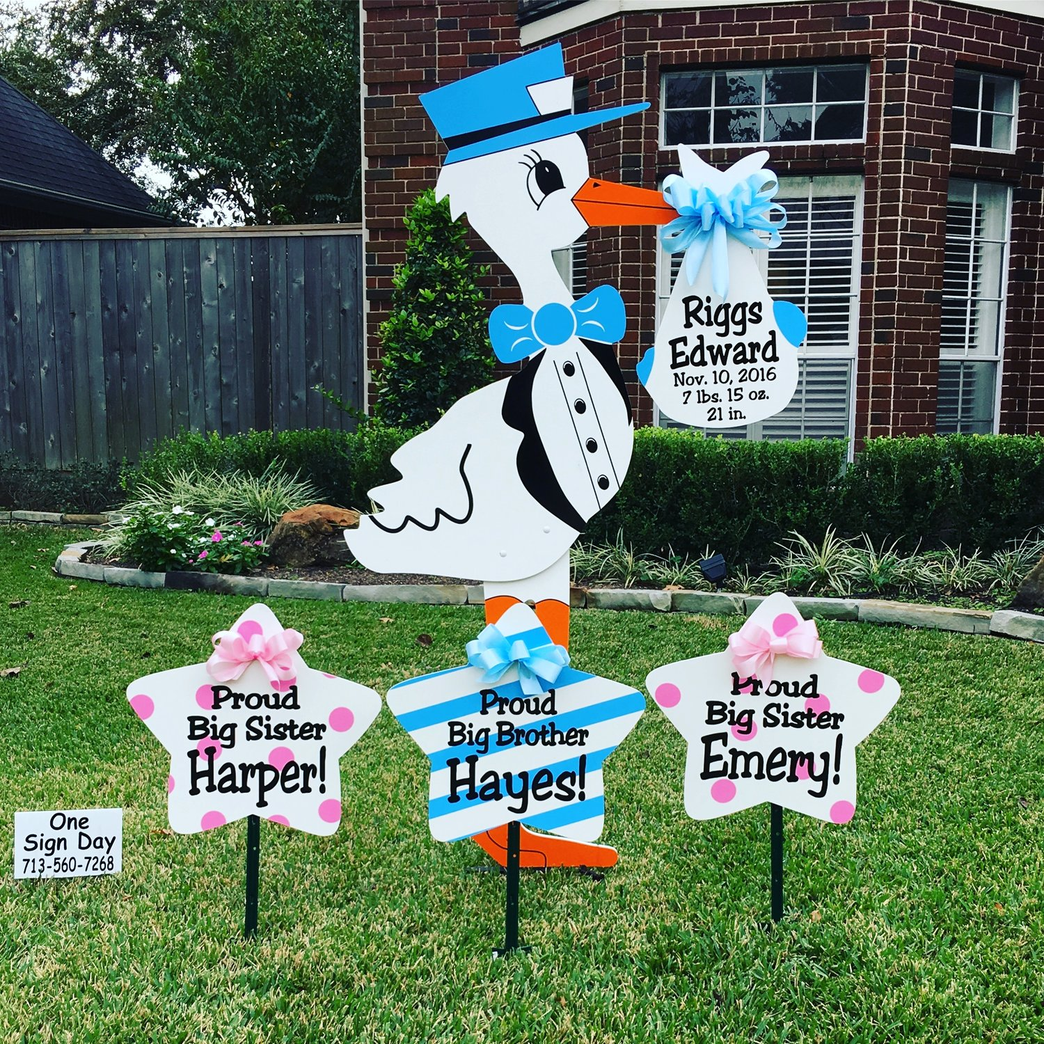 Houston texas yard cards and stork rentals one sign day one sign day houston texas stork lawn sign br 713 560 kristyandbryce Images
