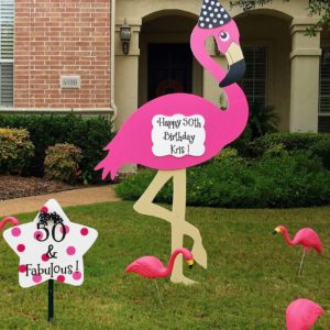 Lawn Signs ~ Pink Flamingos  Sandhills Baby and Birthday Signs  Fayetteville, NC  910-723-4784